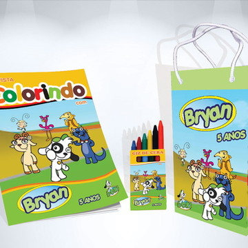 Kit de Colorir do Doki Revista Giz Sacola Brindes