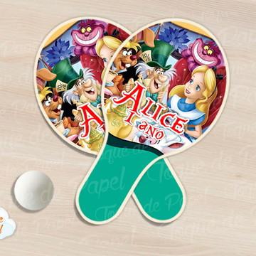 Kit Ping Pong raquete Alice no país das maravilhas