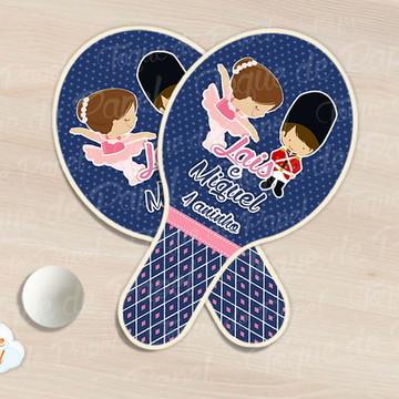 Kit Ping Pong raquete bailarina e soldadinho
