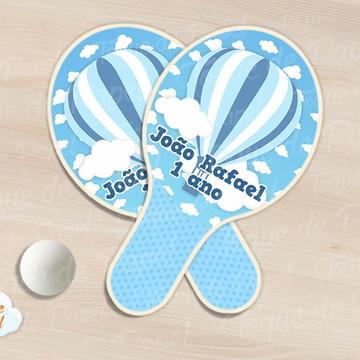 Kit Ping Pong raquete balões azul
