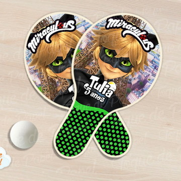 Raquete de ping pong cat noir