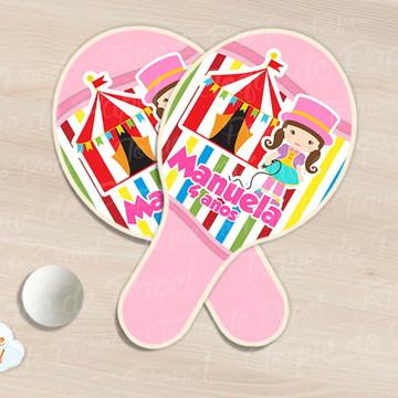 Raquete de ping pong circo rosa