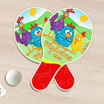 Raquete de ping pong galinha pintadinha