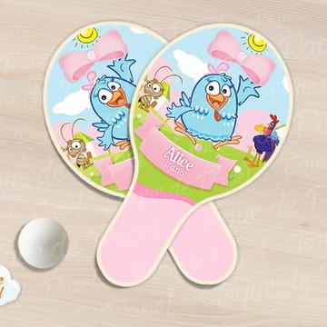 Raquete de ping pong galinha pintadinha rosa