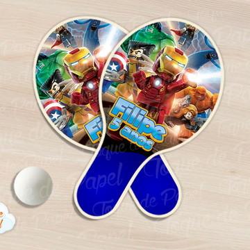 Raquete de ping pong lego super heróis