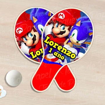 Raquete de ping pong super mario e sonic