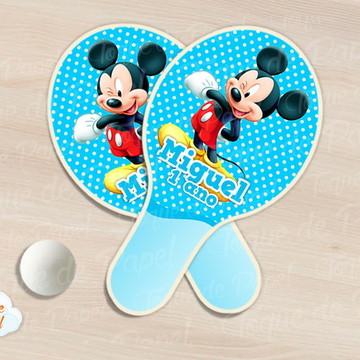 Raquete de ping pong mickey azul poá