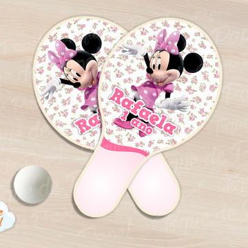 Raquete de ping pong minnie rosa