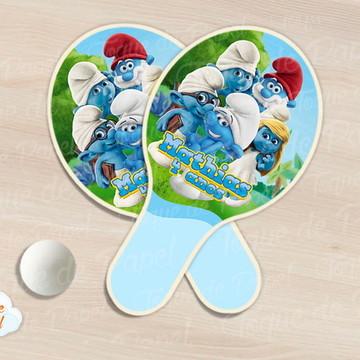 Raquete de ping pong smurfs