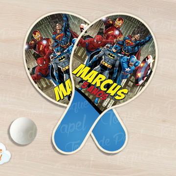 Raquete de ping pong super heróis