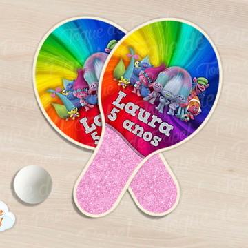 Raquete de ping pong trolls rosa