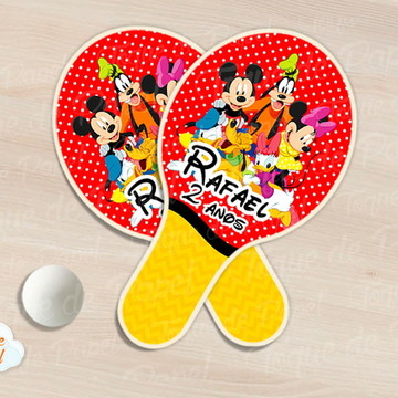 Raquete de ping pong turma do mickey