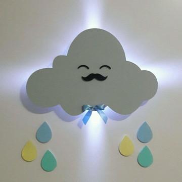 Nuvem com luz de Led luminária decoração menino