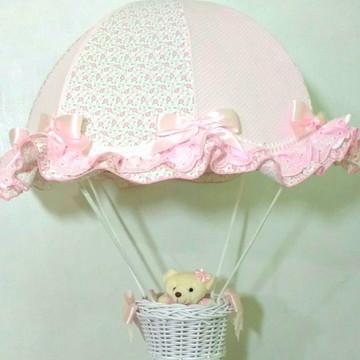 lustre paraquedas pendente infantil floral rosa