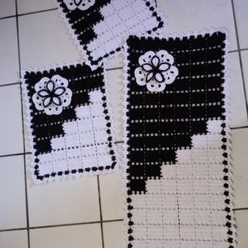 Jogo de tapete em crochê-3 peças