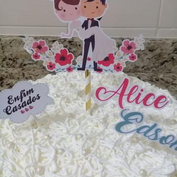 Topo de bolo 3D - Casamento