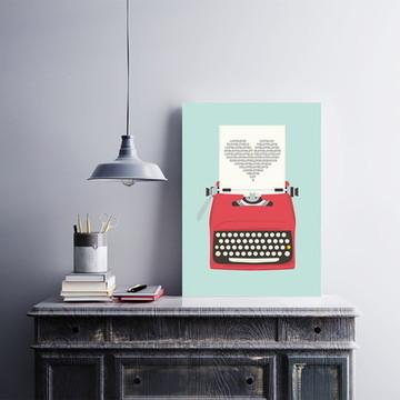 Placa decorativa MDF Máquina de Escrever Love