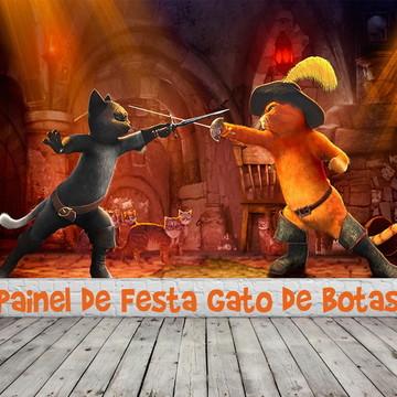 Painel de Festa Gato de Botas