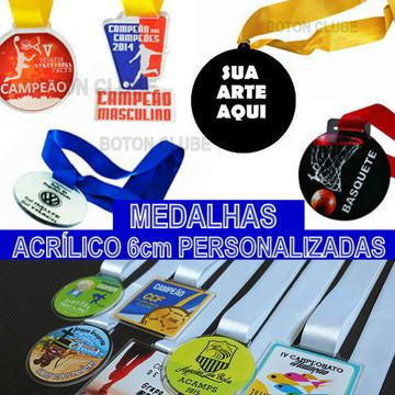 Medalhas de acrílico personalizadas 6 cm de diâmetro