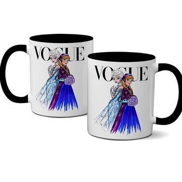 Caneca Vogue Princesas Disney Elsa e Ana