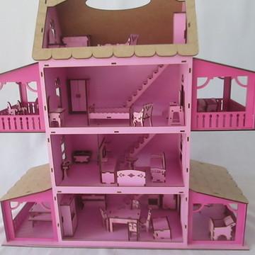 Casinha de boneca Polly + 33 Mini moveis em MDF Pintado