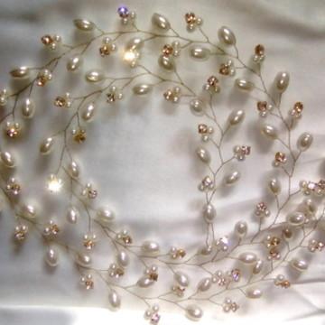 Tiara Fio 90cm Dourado com 50 strass Para Cabelo Noiva