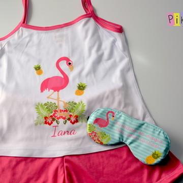 Baby Doll + máscara de dormir Flamingos
