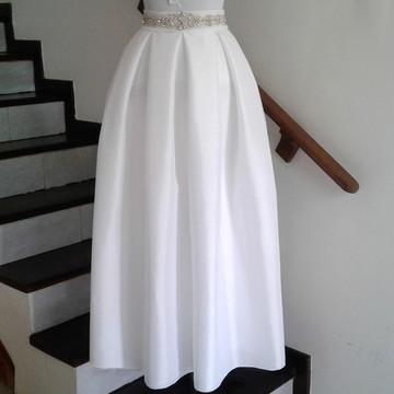 Saia Branca Longa Em Tafetá Para Noivas Luxo Bonito
