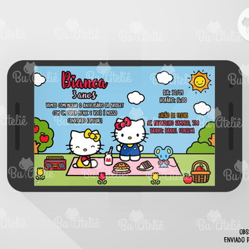 Convite DIGITAL - PicNic - Hello Kitty