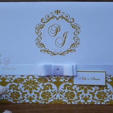 Convite Casamento/15 Anos/Branco com Dourado