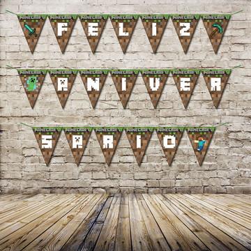 Bandeirola Feliz Aniversário Minecraft