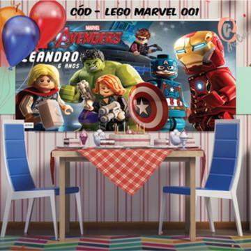 Painel festa decoração lego marvel