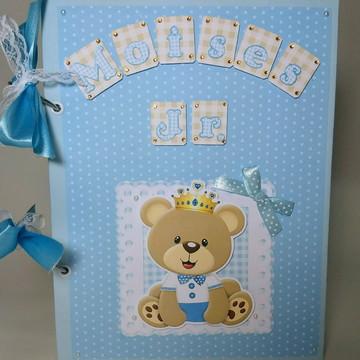 Álbum livro do bebê personalizado scrapbook urso principe