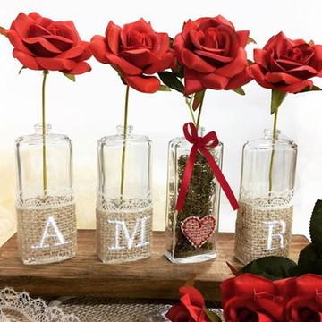 Vasinhos AMOR com flores RED