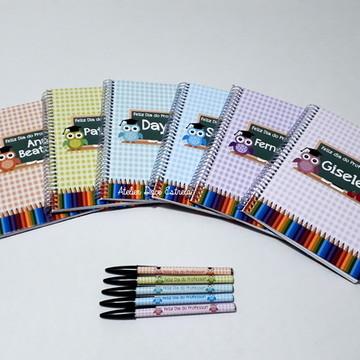 Caderno Personalizado -Dia dos Professores Coruja Xadrez