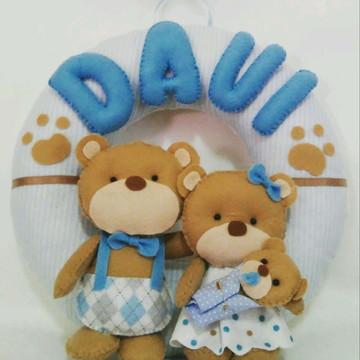 Enfeite Porta Maternidade Família Urso Davi