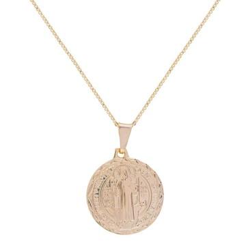 Colar Medalha de São Bento Semi Joia Folheada em Ouro 18k