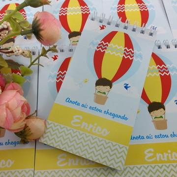 Bloquinho personalizado lembrança maternidade balão