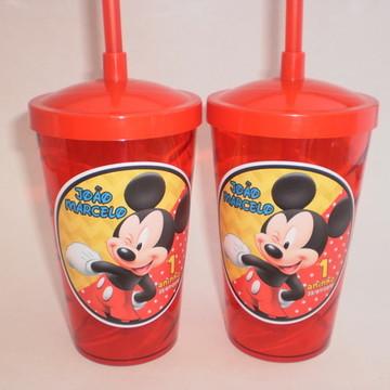 Copo Shake com Canudo de 500ml Mickey