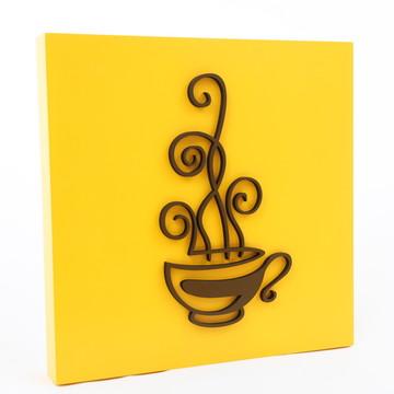 Quadro Cozinha Xícara- amarelo