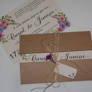 Convite de casamento rústico com palha - II