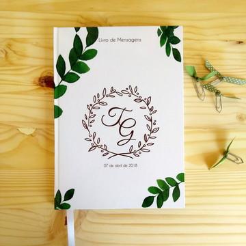 Livro de Mensagens Casamento com Brasão e folhagens