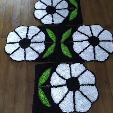Flores brancas tapete frufru para decoração da cozinha