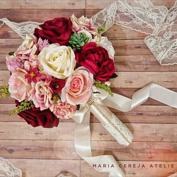 Buque Noiva Flores Marsala e rosa
