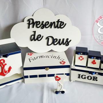 Kit Higiene MDF 8 Peças Marinheiro