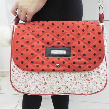 Bolsa Feminina de Tecido Floral e Vermelho bolsa Preta