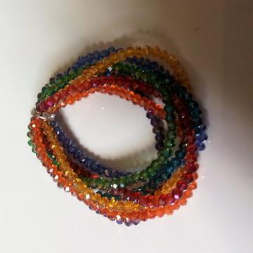 sete pulseiras cristais