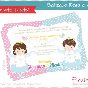 Convite Digital Batizado Azul e Rosa