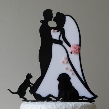 Noivinhos Silhueta Preto e Branco + Pet