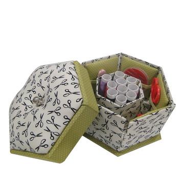 caixa de costura sextavada (com conteúdo)